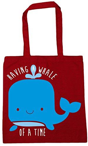 10 Gym of Time Bag a 42cm x38cm litres Beach Red Whale Having Shopping Tote HippoWarehouse Classic a F8wqfTqO