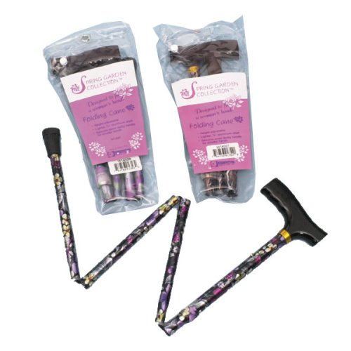 Essential Medical Supply Spring Garden Collection Folding Wood Derby Handle Cane, Wildflower