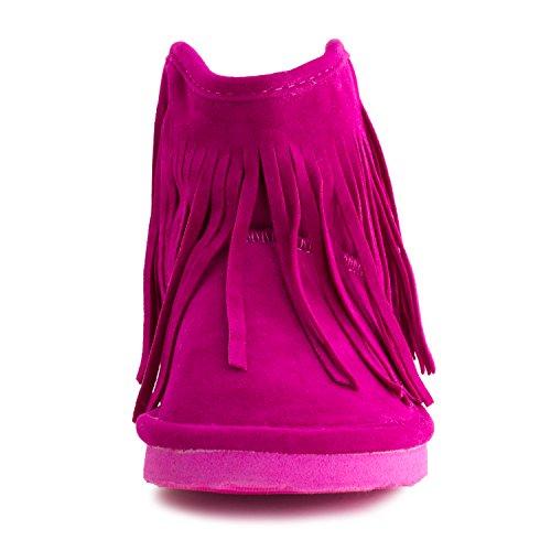 Kali Womens Fringe Fur Lining Faux Suede Enkellaarsjes (volwassenen) Hot Pink
