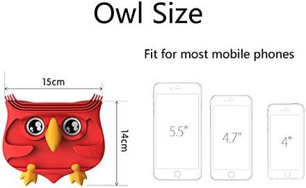 Silicone Cute Owl Car Organizer for Sunglasses Mobile Phone Holder Anti-Slip Mat Dashboard Mats Auto Non-Slip Pad Red