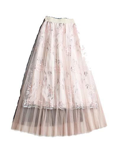 Femme Elastique Taille Plisse en Tulle Imprim Floral Evase t en Plage Jupes Abricot