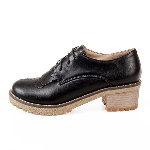 Allhqfashion Womens Kitten Hakken Zacht Materiaal Massief Veterschoen Rond Gesloten Teen Pumps-schoenen Zwart