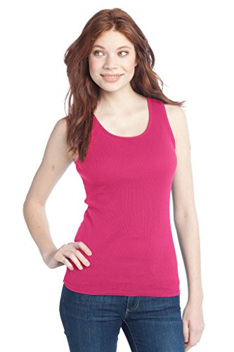 Buy Cool Shirts District Juniors 2x1 Rib 100% Cotton Dark Fuschia Tank Top XL