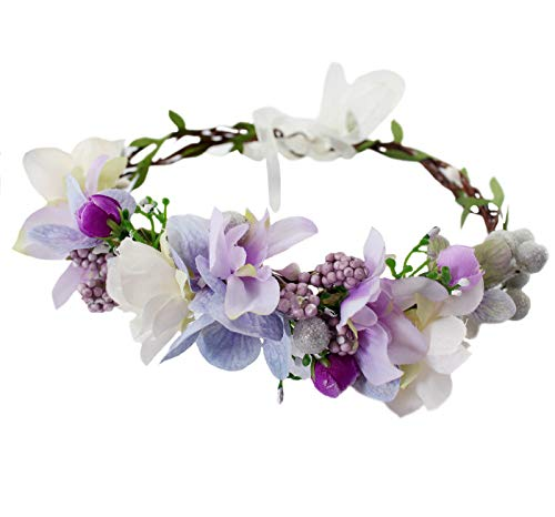 Vivivalue Floral Crown Headband Flower Headpiece Hair Wreath Floral Halo Boho with Ribbon Wedding Party Photos Prom Festival Purple -