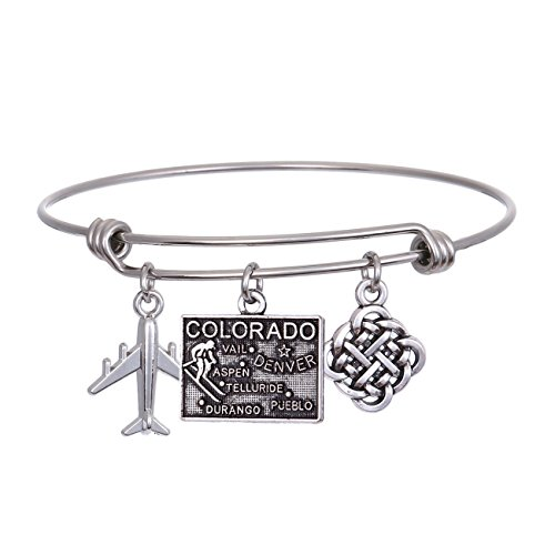 (JJTZX State Bangle U.S. Map Charm Expandable Travel Bracelet Long Distance Relationship Gift Best Friends Bracelet)