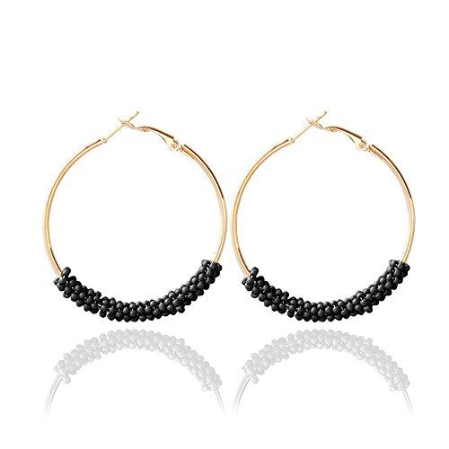 Big Beaded Hoop - Dcfywl731 Bohemian Circle Colorful Beaded Earrings,CHUYUN Gold Plated Hoop Dangle Earrings for Girls (Black)