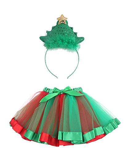 kaste Tutu Skirt Layered Ballet Tulle Little Girls Dress up Colorful Hair Headband for Christmas (3-7years)