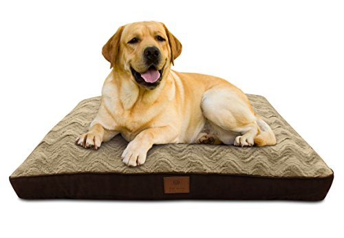 AKC Deluxe Extra-Large Memory Foam Wave Fur Gusset Dog Pet Bed, 40 x 27″ Brown Color