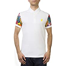 Versace Jeans Couture Pima Cotton Floral Sleeve Polo Shirt White