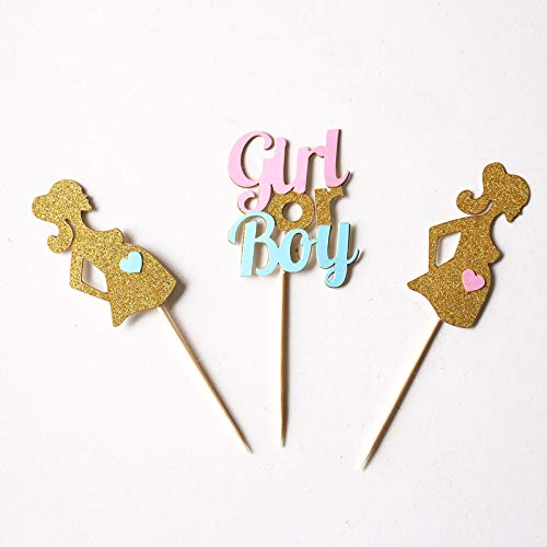 Autumn Water Gender Reveal Cupcake Toppers,Pink or Blue