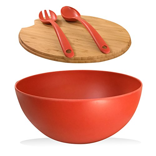 Clean Dezign Extra Large Serving Bowl with Cutting Board Bamboo Lid and Servers - Bamboo Fiber Material perfect for Salad Fruit Pasta (Large, Red) ()