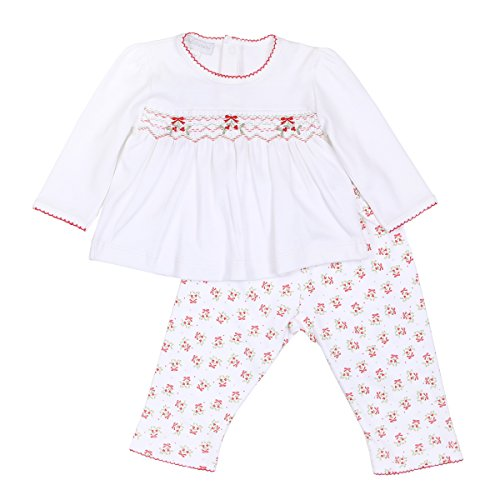Magnolia Baby Unisex Baby Be Merry Smocked 2pc Pant Set Red 3 Months