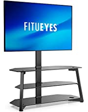 FITUEYES 3-in-1 Glass TV Stand for 32 to 65 inches Flat Curved Screen Height Adjustable Media Console