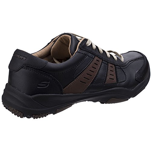 Skechers Mens Larson Nerick Leather Lace Up Casual Trainer Shoes Black/Tan