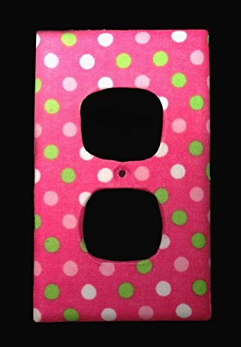 handmade-fabric-green-pink-white-dots-on-pink-duplex-receptacle-cover