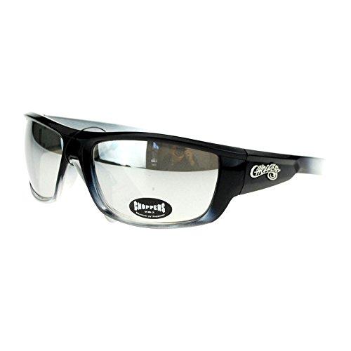 Choppers Mens Skater Motorcross Warp Biker Rectangular Sport Plastic Sunglasses Black Mirror