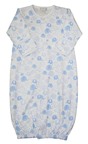 Kissy Kissy Baby-Boys Infant Endearing Elephants Print Convertible Gown-White With Blue-Newborn