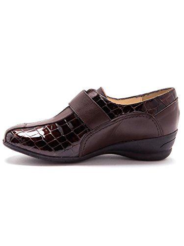 Pediconfort à Chaussures derbies patte auto Marron confort largeur agrippante TTqwUSnFr