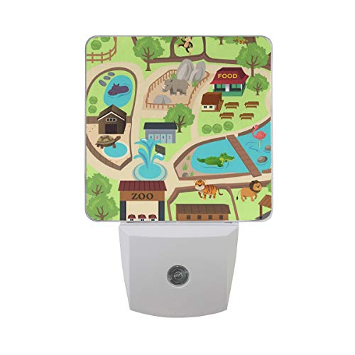 2 Pack Plug-in LED Night Light Lamp Map of Zoo Park Printing with Dusk to Dawn Sensor for Bedroom, Bathroom, Hallway, Stairways, 0.5W (Lamp Baby Zoo)