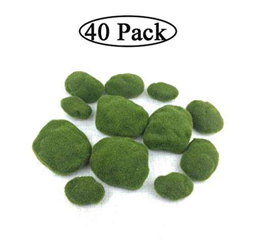 Pack of 40 Faux Moss Artificial Rocks Decorative Faux Green Moss Covered Stones for Floral Arrangements, Fairy Gardens and Crafting (3 Size)