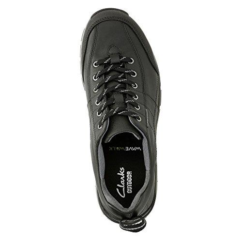 Clarks Frauen Wave Trek Sneaker. Schwarzes Leder / Grau