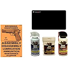 Browning Highpower Do Everything Manual + Ultimate Arms Gear Gun Cleaner Spray + Wash + Wipes + Cleaning Work Mat