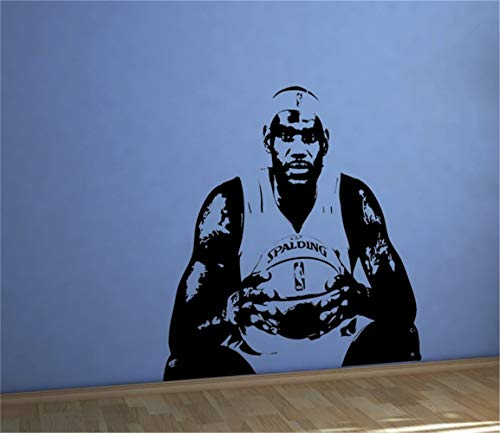 (Umondon Vinyl Peel and Stick Mural Removable Wall Sticker Decals Large Basketball Home Decor Famous Player Jersey Stencil Cavaliers Cavs Cleveland King James Kids Boys Bedroom)