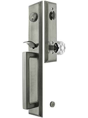 Melrose Style Tubular Handleset in Antique Pewter with Diamond Knobs and 2 3/4