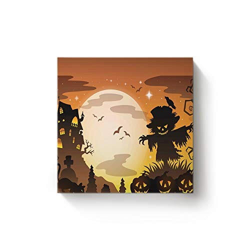 YEHO Art Gallery Square Canvas Wall Art Oil Painting Office Home Decor,Horror Scarecrow Halloween Pumpkin Design Artworks for Christmas,Stretched by Wooden Frame,Ready to Hang,28 x 28 Inch]()