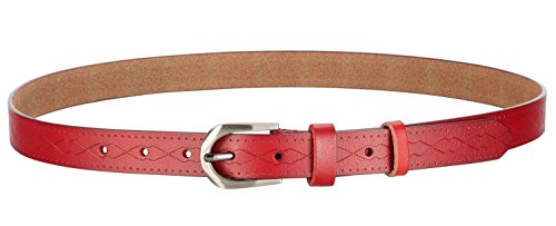 Motase Women Leather Belt for Pants Dress Jeans Waist Belt with Brushed Alloy Buckle Red M -