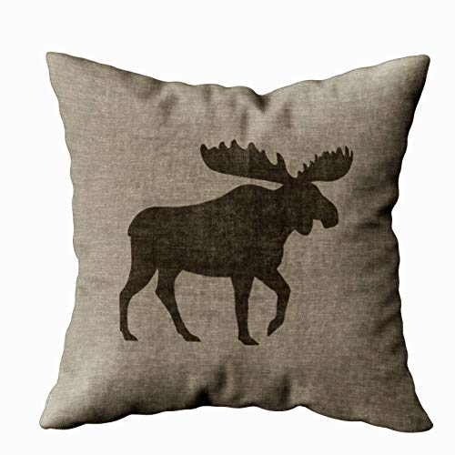 Musesh moose silhouette burlap style Cushions Case Throw Pillow Cover For Sofa Home Decorative Pillowslip Gift Ideas Household Pillowcase Zippered Pillow Covers 18X18Inch