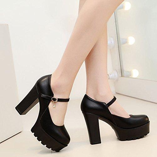 Plataformas Para La R Con Vestidos Tobillo Plataforma De Stra Zapatos Jane Bombas Zapatos Corte Discotecas Gruesos Black Cerrada Zapatos YR Mary Tacones Damas 7qnS6pwS