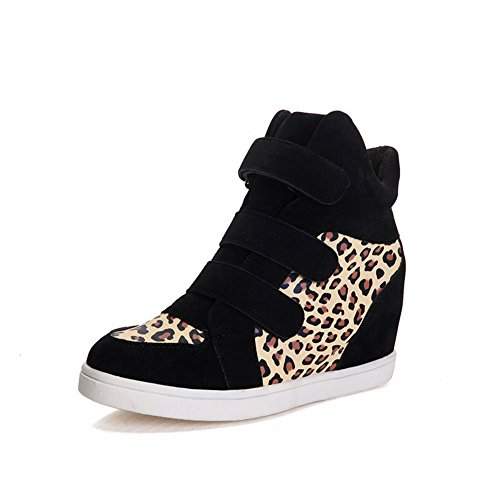 Btrada Donna Sexy Leopard High-top Casual Sneakers Sportive Zeppa Scarpe Nascoste Gialle
