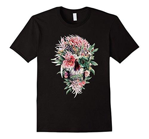 Mens Beautiful Art Floral Skull T-Shirt Sugar Skull Shirt 3XL Black