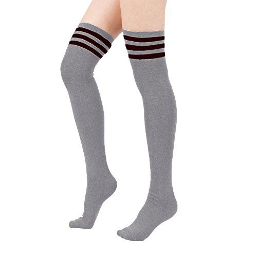 Absolutely Perfect Women's 3-Stripe Triple Winter Over Knee Warmer Long Tube Retro Thigh High Socks Dark - Shopping Or Portland