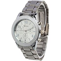 Winhurn Hot Sale Classic Stainless Steel Quartz Women Wrist Watch (Silver)