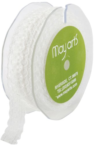 May Arts 5/8-Inch Wide Ribbon, Ivory Lace