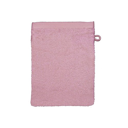 Garnier-Thiebaut, Set of 2, Luxury Cotton / Bamboo European Shower / Wash Mitts (Gant De Toilette), Rose (Pale Pink), 65 Percent Cotton / 35 Percent Bamboo, Antibacterial, Ligne Bamboo Collection