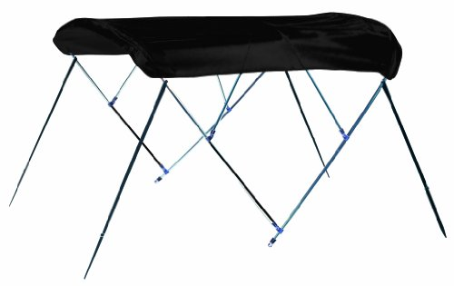 Jet Black 4 Bow Bimini Boat Top With Nylon Fittings, 9.25 oz. Sunbrella Acrylic(L: 8', H: 54