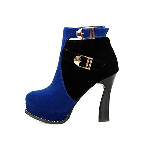 AllhqFashion Damen Reißverschluss Spitz Zehe Knöchel Hohe Stiefel mit Metall Schnalle, Rot, 43
