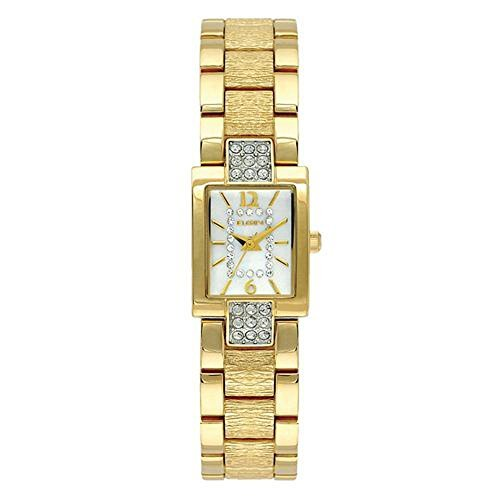 - Elgin Women's Gold Tone Watch with Bark Textured Strap, Crystal MOP Dial