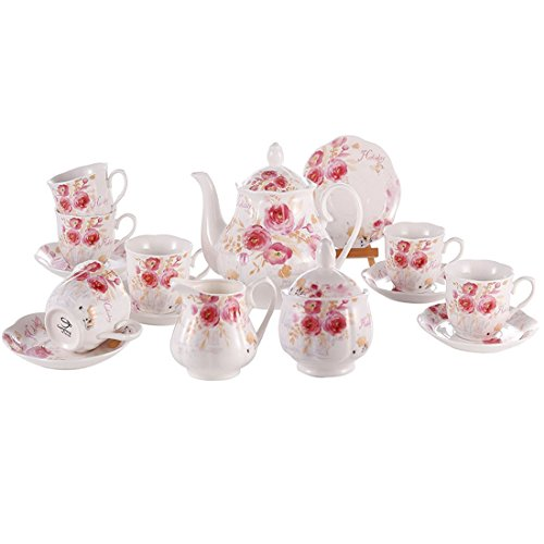 Teapot 7 Cup (Porcelain New Bone China Coffee Set 15 PCS 7 OZ Cups and Saucer for 6 with Teapot Sugar Bowl and Creamer Pitcher for Tea/Coffee Floral Teacups)