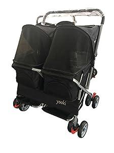 YOOKI Yooki Double Side by Side Pet Stroller, Black, One Size