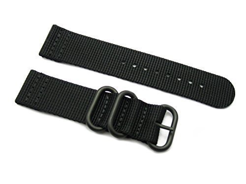 HNS ZULUPATH 2 Pieces 22mm Black Heavy Ballistic Nylon Watch Strap 3 PVD Ring ZU045