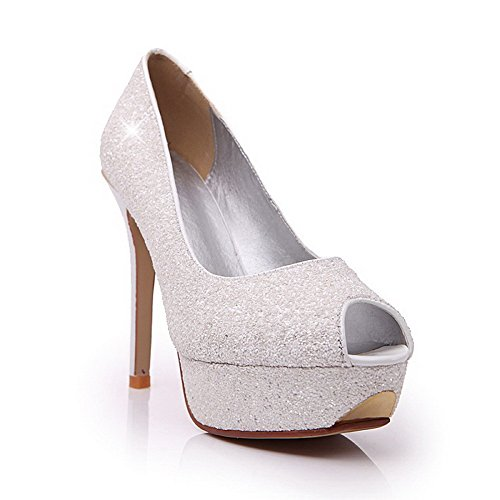 Solid Peep On Stilettos AllhqFashion Spikes Toe White Women's Pull Sandals 1Uvgan