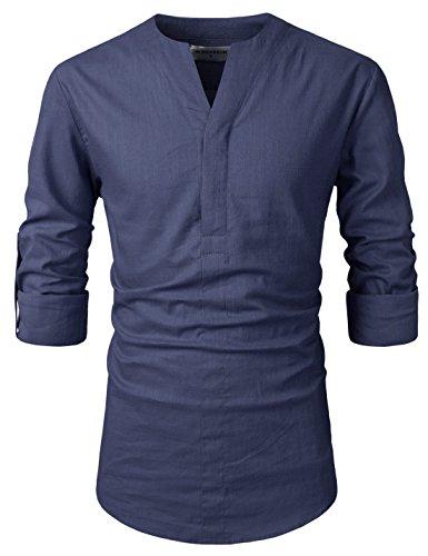 - NEARKIN (NKNKN370 Mens No-Button Slit Vanguard Linen Henley Neck Shirts DUSKNAVY US M(Tag Size M)