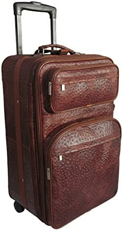 Amerileather Leather 26 Expandable Suitcase with Wheels