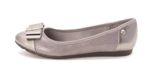 Anne Klein Womens aricia Cap Toe Ballet Flats, Grey, Size 5.0