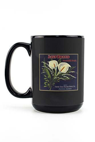 Lily Orange Label (15oz Black Ceramic Mug - Dishwasher and Microwave Safe)
