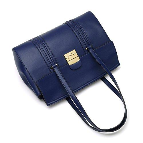 Clamshell Bleu Design main à en Noir à Sacs Sac femmes Les cuir Kadell bandoulière Sac foncé tissage PxqgOUYw